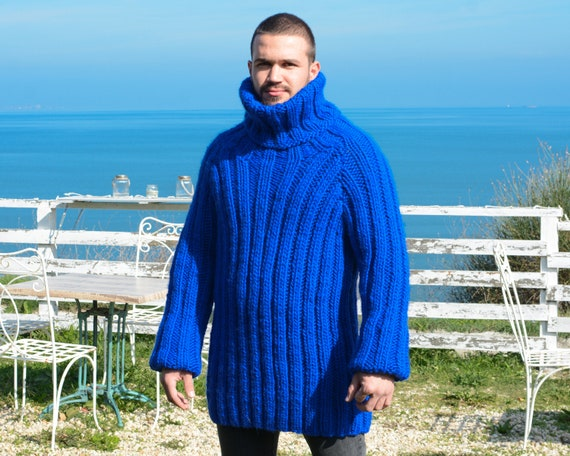 Ribbed Blue Wool Sweater, Hand Knit Woolen Pullover T663