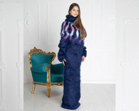 Blue Icelandic dress, Hand Knit Mohair robe, Fetish Mohair Dress, Sweater Dress, Turtleneck Dress, Chunky Knit Dress, Lopi Dress T652