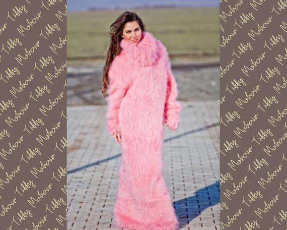 Pink Mohair Dress, Turtleneck Maxi Dress, Hand Knit Sweater Dress, T neck Mohair Dress, Chunky Mohair Dress, Fetish Dress, Winter Dress T270