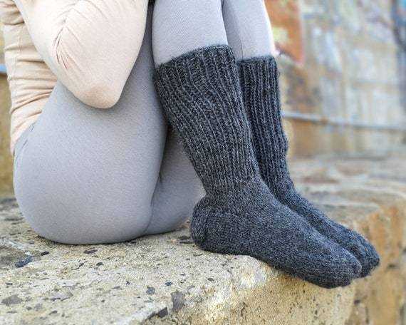 Grey wool Socks, Hand Knit Legwarmers, Woolen Socks,  Winter Socks, Warm Socks, Fetish Socks, Wool Socks, HAnd KNitted Socks T927