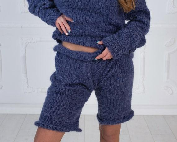 Denim Blue Mohair Shorts , Hand Knit Boxers,Fetish Panties, Mohair Boxers, Fuzzy Shorts, Hand Knitted Pants, Fuzzy Underwear T1017
