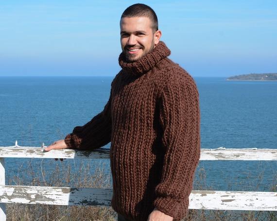 Men woolen sweater, Brown Hand knitted Wool Sweater T665
