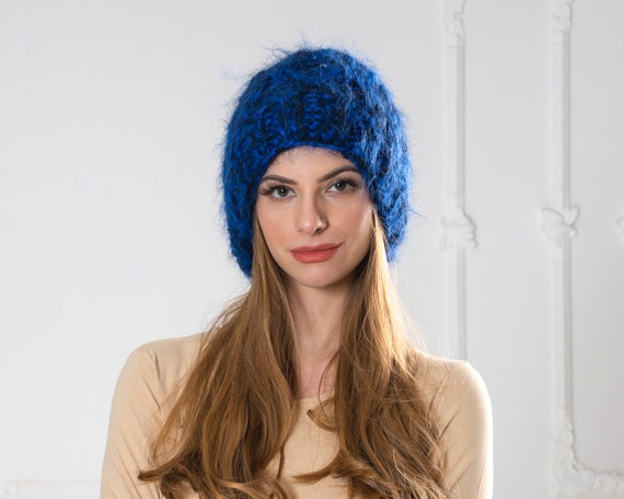 4 Strands Blue and Black Melange Mohair Hat, Cable knit Hat, Fluffy Mohair Beanie, Slouchy Hat, Fluffy Hat  T1004