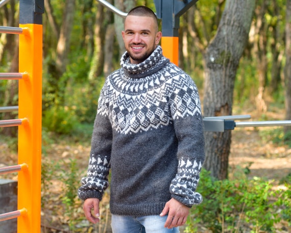 Lopi wool Sweater, Icelandic style jumper , Hand knitted gray pullover  T822M