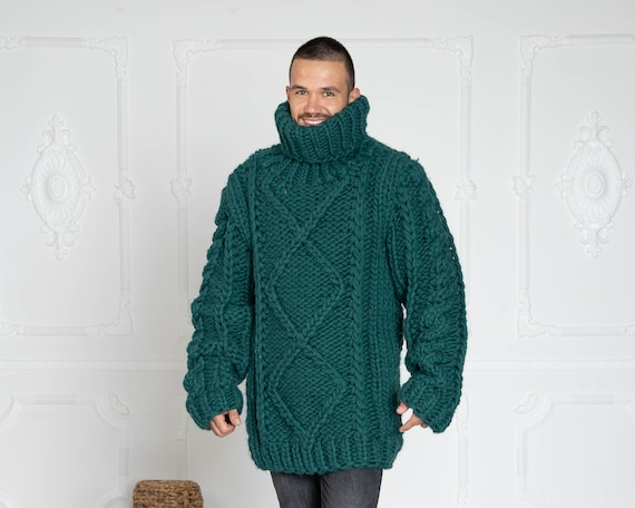 5 Strands Thick Green Wool Sweater,Massive Knit Woolen Pullover, Cables Sweater T629M