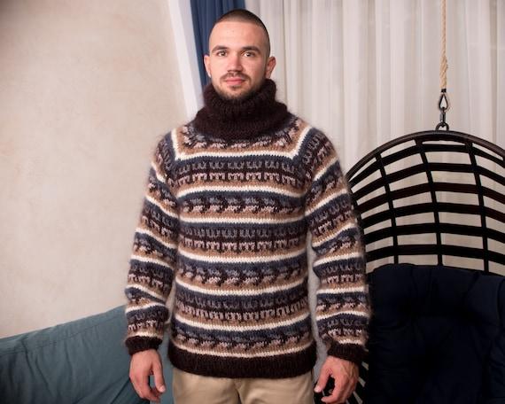 Great Scandinavian style sweater, Icelandic jumper in brown colours T839M