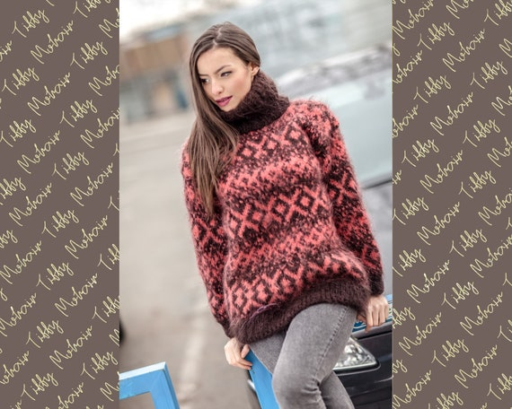 Iceland Mohair Sweater, Knitted Mohair Pullover T413