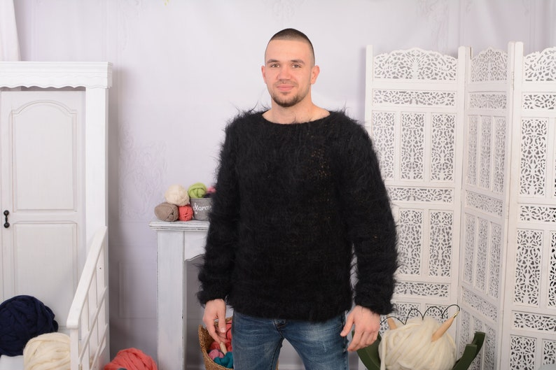 See through sweater T700M Fluffy sweater Black  Big neelde Knit Mohair Sweater
