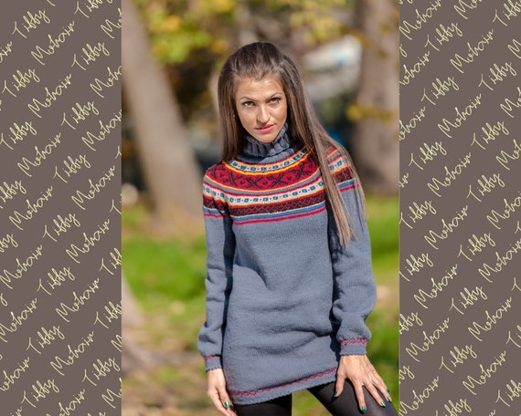 Ready to Ship Cashmere Norwegian Sweater in size S T388