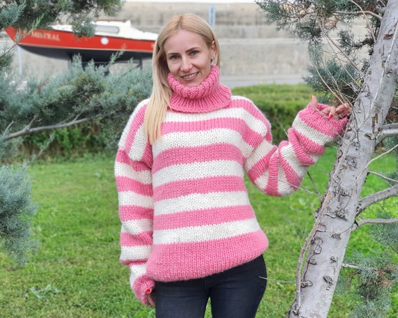 Pink Wool Sweater, Hand Knit Pullover, Chunky Striped Sweater, Turtleneck Sweater, Woolen Sweater, Loose Sweater T920