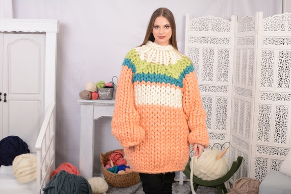 Peach merino sweater Women's chunky over sized sweater chunky slouchy sweater multicolour  T718AW