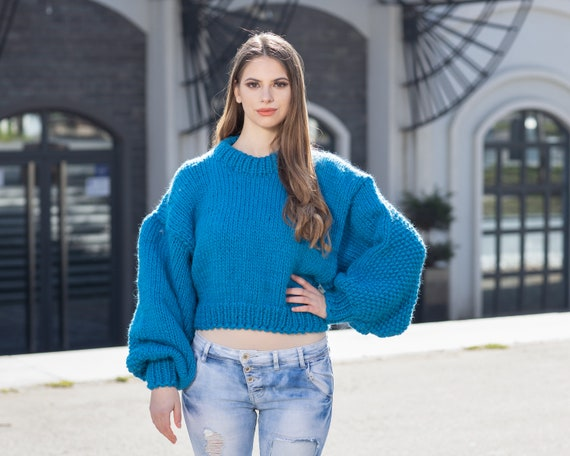 Short Sweater with Oversized Sleeves, Blue 100 % Wool Jumper , Extra Wide Sleeves Sweater T1025