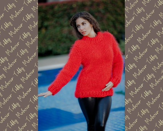 Red Mohair Sweater, Crewneck Sweater, Men Mohair Sweater, Thick Sweater, Oversized Sweater, Hand Knitted sweater, Big Needles Sweater T20
