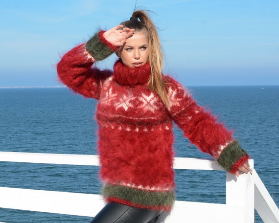 Red Norwegian Mohair Sweater, Hand Knit Sweater, Women Mohair Sweater, Fair Isle Sweater, Nordic Sweater T678