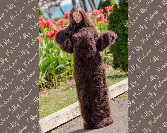 Brown Mohair Dress, Knitted Dress, Turtleneck Maxi Dress, Chunky Mohair Dress, Long Fetish Dress, Huge Winter Dress , Knitted Dress  T371