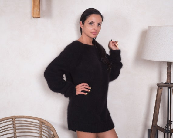 Ready to ship sweater in size 4XL, Black Italian rabbit  angora sweater , Sensual fluffy jumper T857