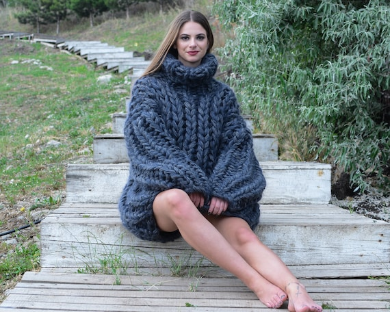 Ready to ship in size 6 xl ,8 strands Mohair and wool mix sweater, Extra thick Fisherman rib jumper. Thick Hand Knitted Jumper T787W