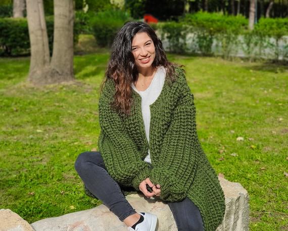 100%  Wool Cardigan, Hand knitted Cradigan, Oversized Cardigan, Knit Jacket, Wool Coat, English rib Cardigan Coat, Chunky Cardigan T902