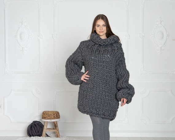 12 strands Chunky Knit Wool Sweater, Gray woolen Hand knit Pullover T634W