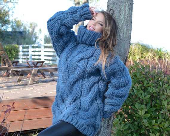 5 Strands Thick Denim Blue Wool Sweater, Massive Knit Woolen Pullover, Cables Sweater, Woolen huge Sweater T660W