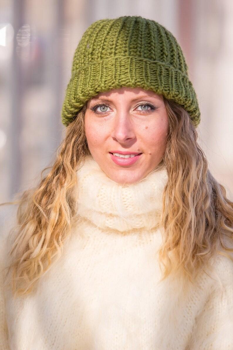 02276c0dd38 Green Wool Hat Woolen Beanie Hand Knitted Hat Slouchy Hat