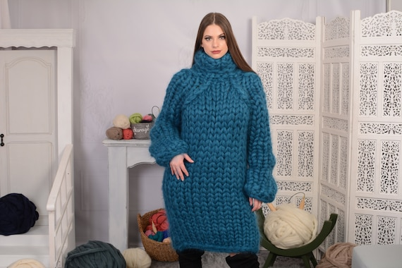 Heavy mohair sweater in 25 strands, oversized women's jumper, Blue sweater from longhairedmohair, Huge sweater  T699AW