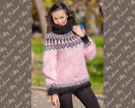 Mohair Sweater, Lopi Sweater, Icelandic Sweater, Hand Knit Sweater, Men Mohair Sweater, Norwegian Sweater, Nordic Sweater, Pink Sweater T383