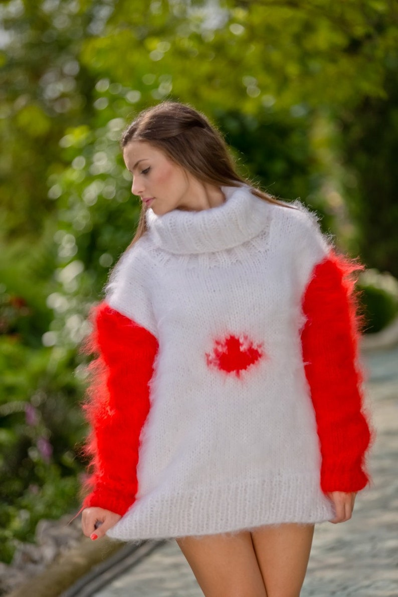 96737e2941fa15 Canadian Flag sweater Hand Knit Mohair sweater Men Mohair | Etsy