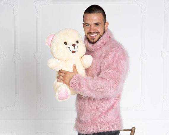Stylish men's mohair sweaters, Pink Mohair sweater T640M