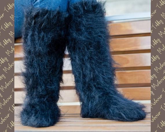 Mohair Socks, Hand Knit Legwarmers, Fuzzy Socks, Fluffy Socks, Winter Socks, Warm Socks, Fetish Socks, Wool Socks, HAnd KNitted Socks T179a
