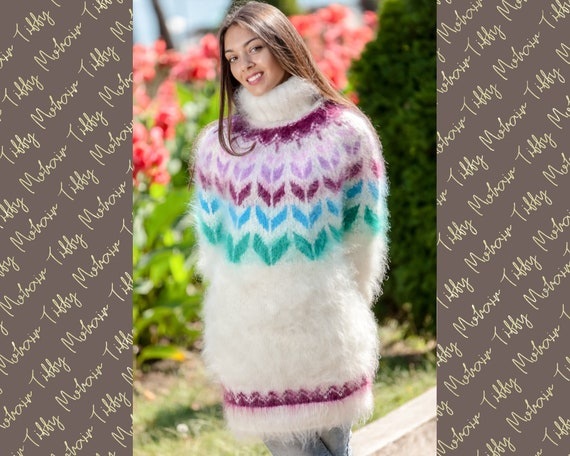 Mohair Lopi Sweater, Hand Knitted Wool Jumper T356