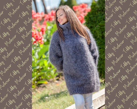 Thick Mohair Sweater, Turtleneck Sweater, Hand Knitted Sweater, Fluffy Sweater, Huge Oversized Sweater, Mohair Fetish, Chunky Sweater T362