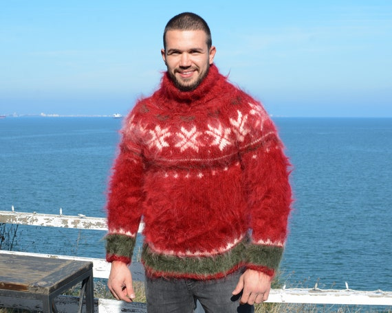 Red Norwegian Mohair Sweater, Hand Knit Sweater, Men Mohair Sweater, Fair Isle Sweater, Nordic Sweater T678M