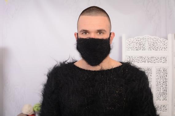 Crochet Mohair  face mask cover , Face warmer Reusable knit mask , Fluffy face mask , Fuzzy maskT741
