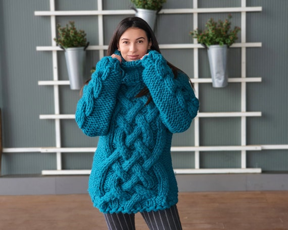 Ready to ship in size 2XL 5 Strands Thick Wool Sweater, Massive Knit Woolen Pullover, Cables Sweater, Woolen huge Sweater T938