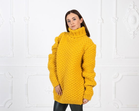 REady to Ship in size 3XL, Moss Stitch Wool Sweater, Yellow Wollen Sweater, Hand Knitted Wooly Jumper T960