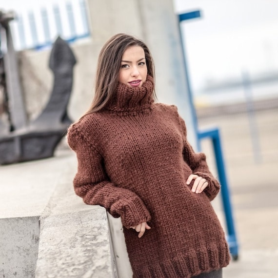Wool Sweater, Hand Knit Pullover, Chunky Sweater, Turtleneck Sweater, Men Sweater, Oversized sweater, Brown Sweater, Loose Sweater  T422