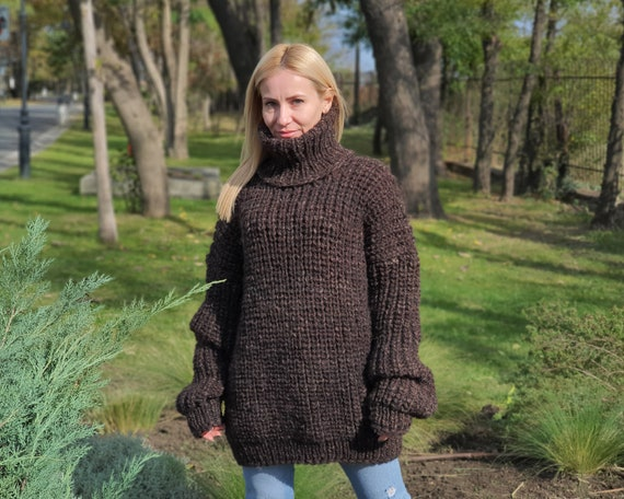 Hand knitted English rib  sweater, Lambs wool and  Alpaca mix  sweater , Itchy wool sweater , Turtleneck sweater T905