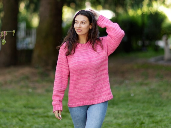 Ready to ship in size L , 100 % Cotton hand knitted sweater, Pink Melange Jumper, Summer Sweater, Sexy Sweater  T1067