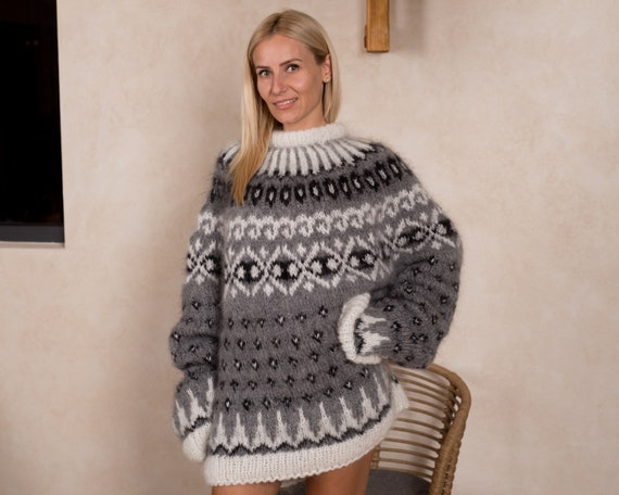 Ready to sip sweater in size 6XL, Nice Icelandic sweater  made of soft mohair T838W
