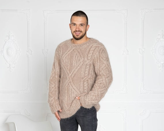 Cable Knit Mohair Sweater, Cables Sweater, Hand Knit Sweater, Crewneck Jumper, Oversized Sweater, Chunky Sweater, Men sweater T644M