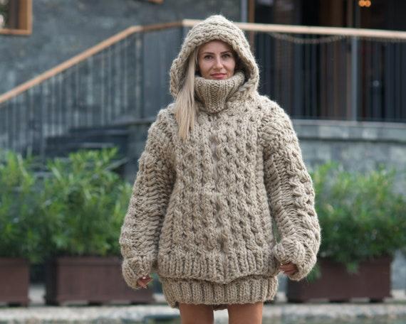 100%  Wool Cardigan, Hand knitted Cradigan, Oversized Cardigan, Knit Jacket, Wool Coat, Honeycomb Cardigan, Aran Coat, Chunky Cardigan T805W