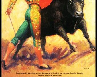 """Bullfighting Plaza De Toros De Vista Alegre #1 Canvas Art Poster 12/""""x 24"""