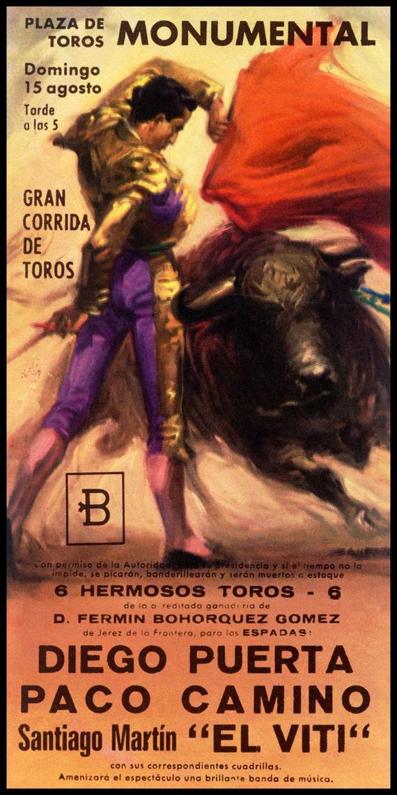 Plaza De Toros El Viti El Cordobés Spanish Bullfighting Vintage Poster Print Art