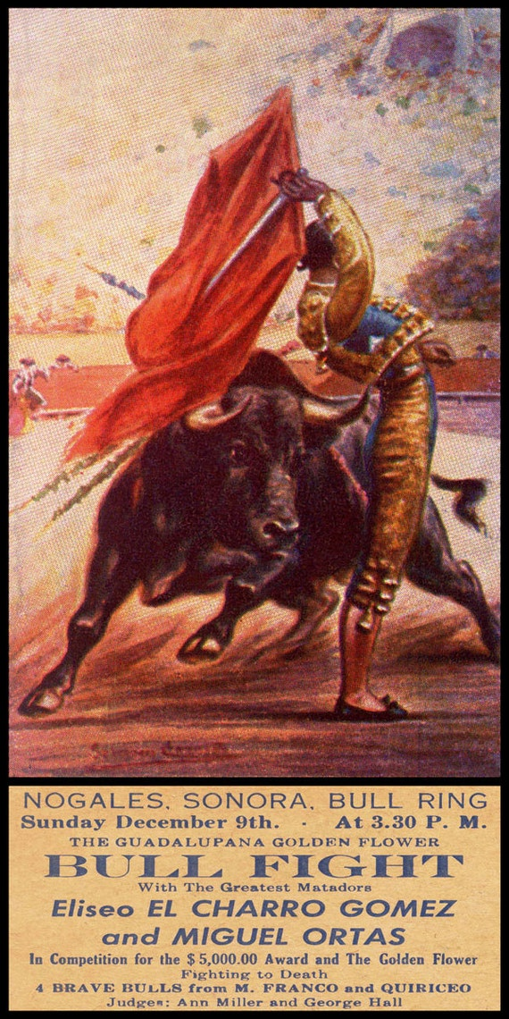 "Plaza De Toros De Nogales Sonora #3 Canvas Art Poster 12/""x 24/"" Bullfighting"