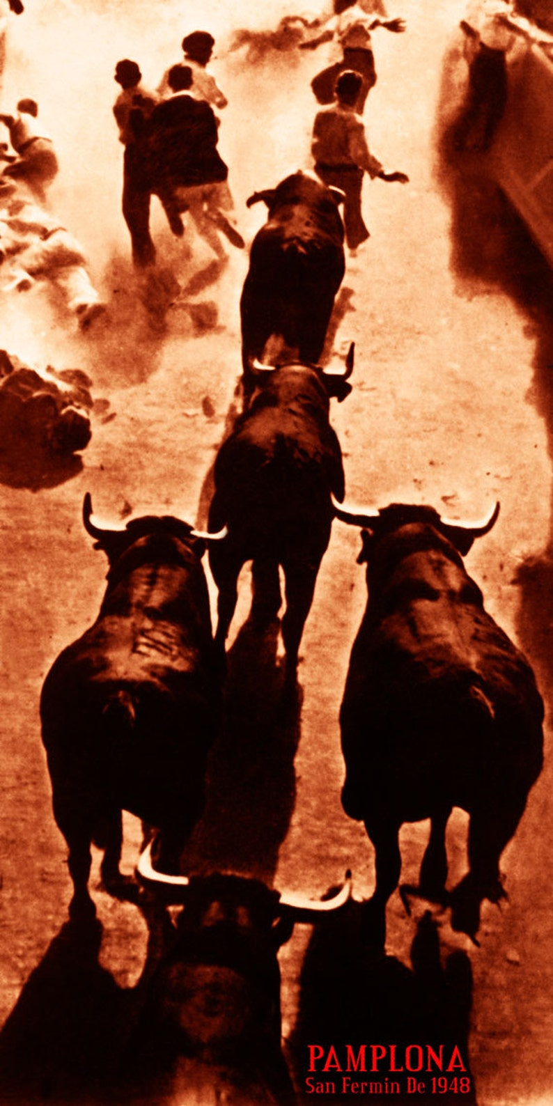 """Canvas Art Poster 12/""""x 24 Pamplona Running of the Bulls Vintage Poster #6"""