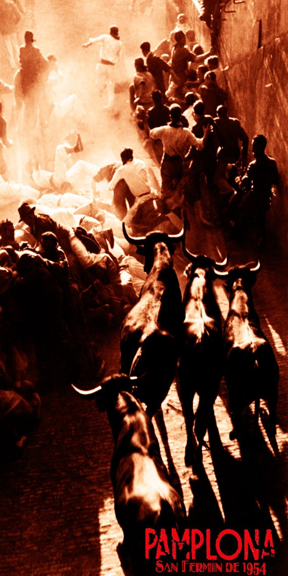 """Canvas Art Poster 12/""""x 24 Pamplona Running of the Bulls Vintage Poster #16"""