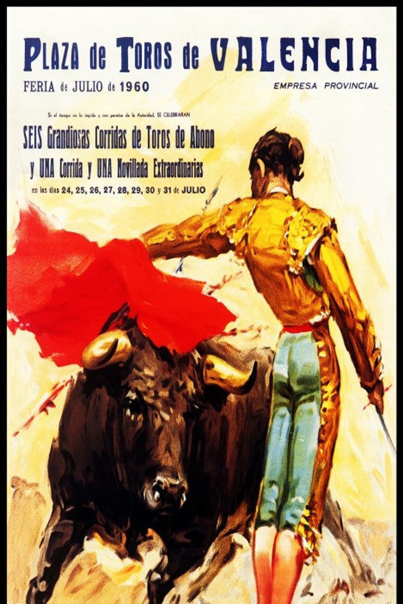 "Plaza De Toros De Valencia #21 Canvas Art Poster 12/""x 24 Bullfighting"