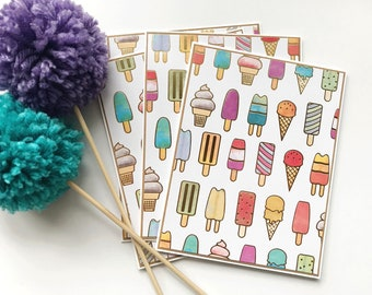 Set of 4 Notecards - Blank Cards - Popsicle Cards -End of School Year - Handmade Cards - Stationery- Student Cards - Summer Cards -Ice Cream