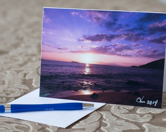 5x7 Photo Note Card of South Maui Sunset